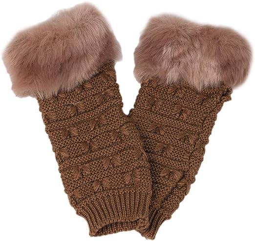 Women Girls Winter Faux Fur Fingerless Gloves Ladies Soft Warm Fur Lined Mittens