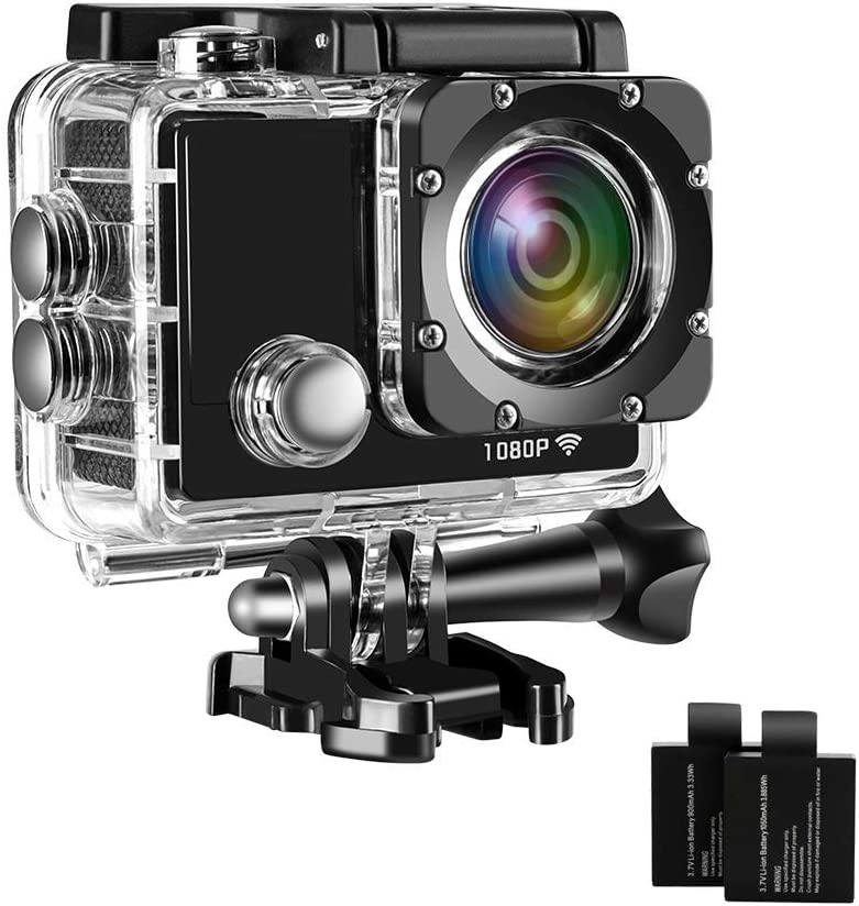 Davola 1080P HD Action Camera Waterproof WiFi 12MP Underwater Camera Wide-Angle Lens Sports Camera with Mounting Accessories Kit
