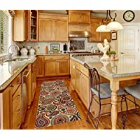 Custom Size Runner Beige Multicolor Paisley Floral Non-Slip (Non-Skid) Rubber Back Stair Hallway Rug by Feet 22 Inch Wide Select Your Length