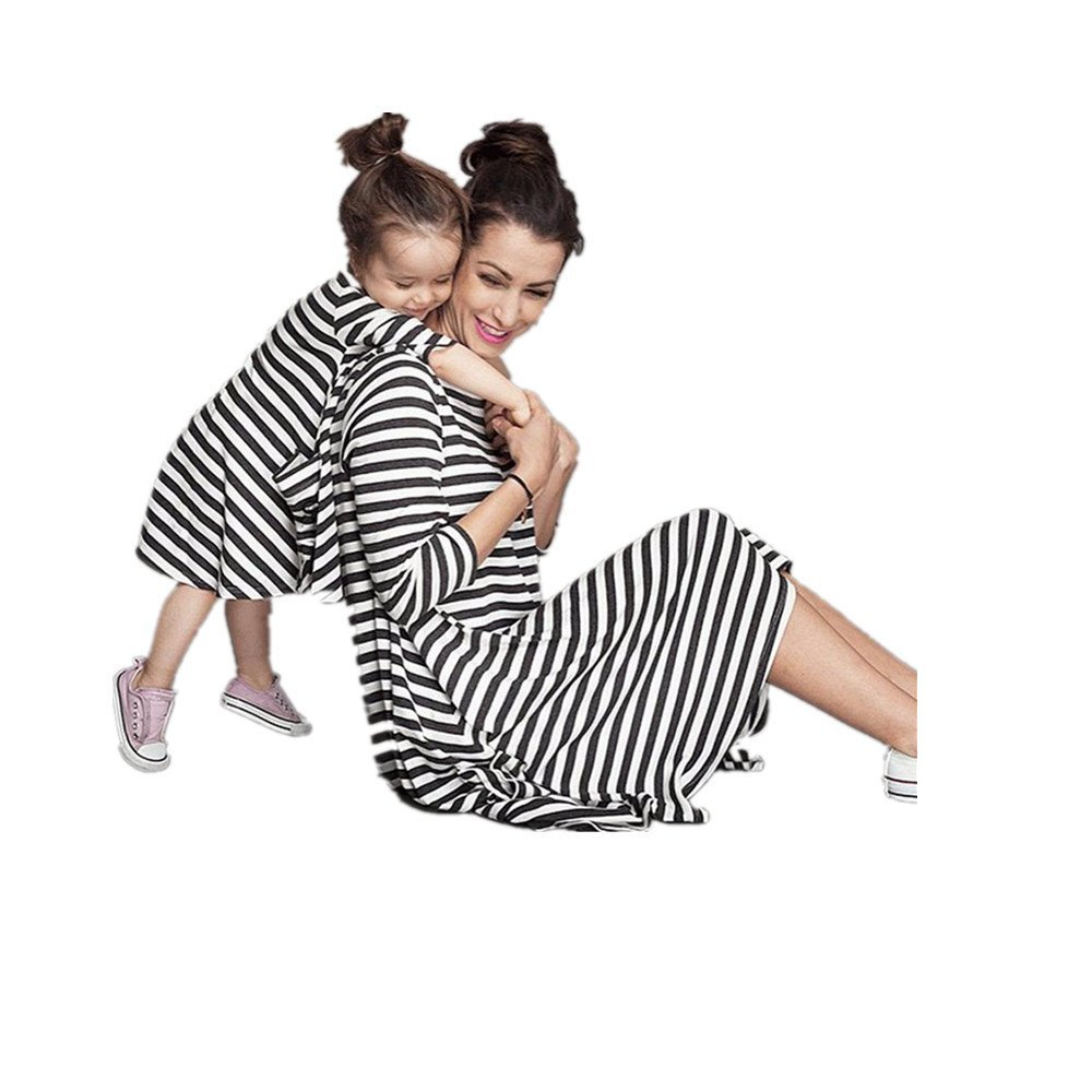 Kids//120 Family Fitted!Start 2PC Mother and Kid Striped DressFamily Clothes Mother Free Size