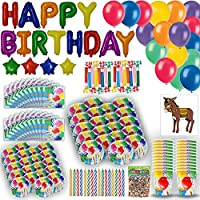 200+ Piece Birthday Party for 24 Guests. Includes 2 Size Plates, Cups, Napkins, Foil Balloon Birthday Banner, Latex Balloons, Blowouts, Pin the Tail On the Donkey Game, Birthday Candles, Confetti
