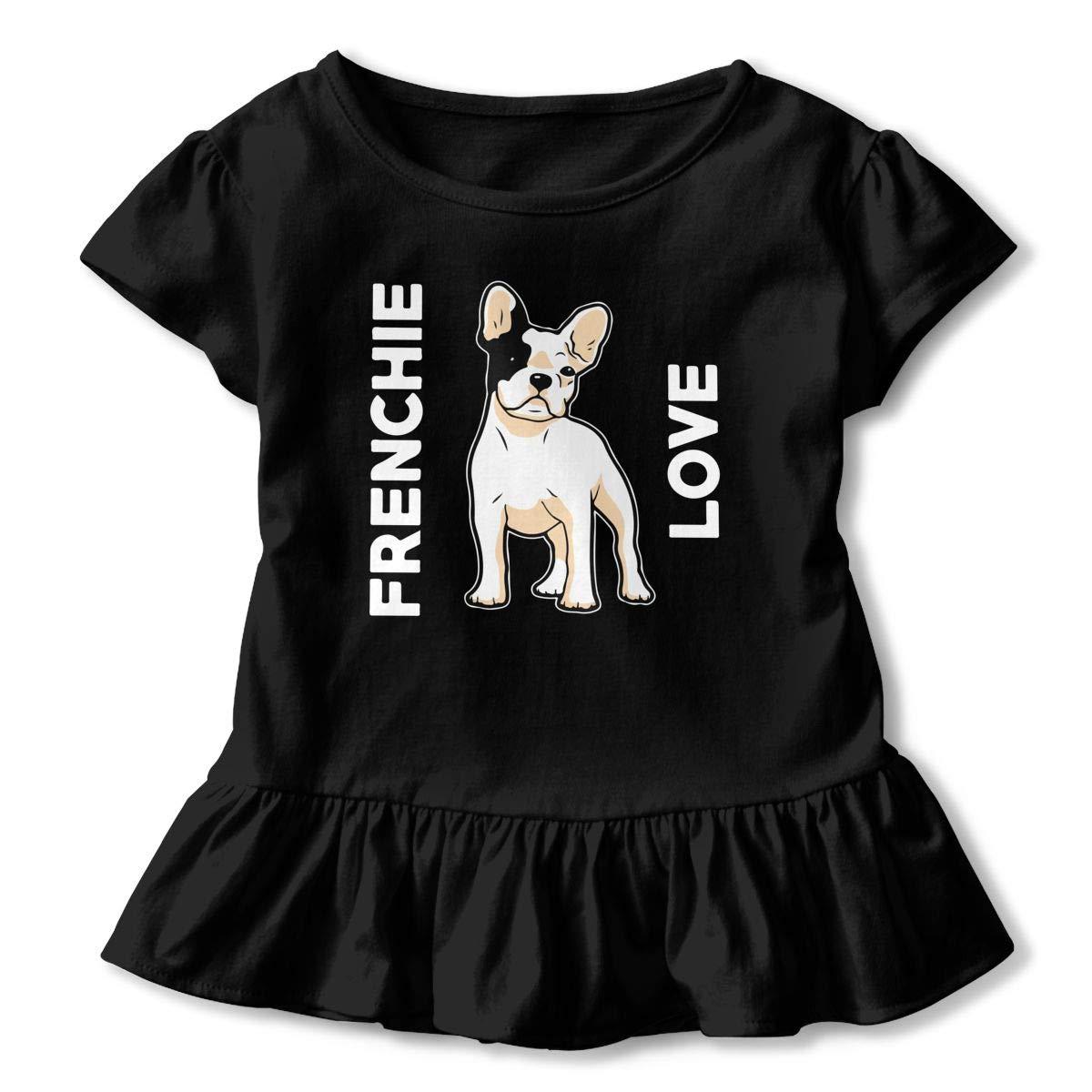 Frenchie Love Cute French Bulldog Toddler Girls T Shirt Kids Cotton Short Sleeve Ruffle Tee