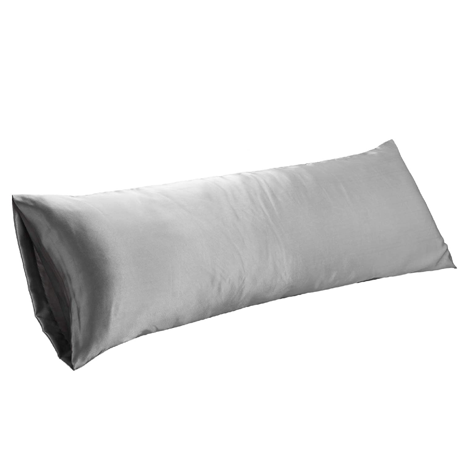 Bedsure Body Pillow Cover Grey 20 x 54 inches - Super Soft Silky Satin Body Pillowcases - Envelope Closure Body Pillow Pillowcases for Adults Pregnant Women