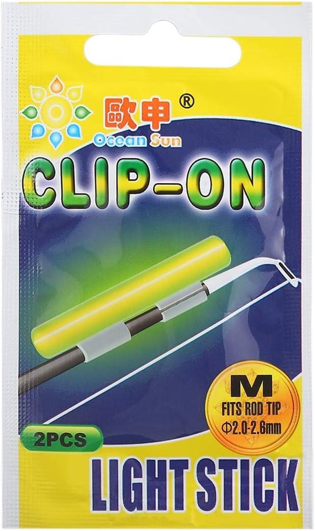HANMEILING 10 paquetes de luz de pesca nocturna con clip para sol oc/éano se adapta a la punta de la ca/ña de pescar de 2,0 a 2,6 mm M