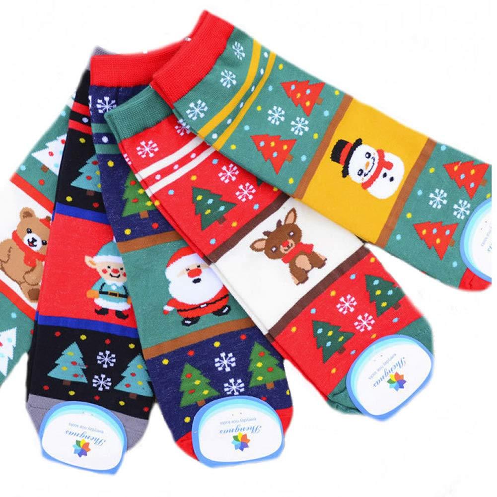 Losuya 5 paia Ladies Ladies Novità Fun Christmas Socks Calze da donna in cotone Autunno Inverno