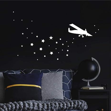 Wandtattoo Loft Leuchtaufkleber Kinderzimmer Flugzeug Und Sterne Leuchtsterne Leuchtend Amazon De Kuche Haushalt