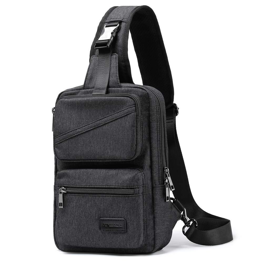 XINCADA Sling Bag Man Purse Crossbody Shoulder Bag Messenger Bags Small Travel Backpack Chest Pack for Men and Women (Black) by XINCADA