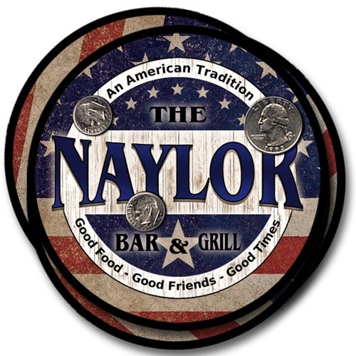 Naylor Family Bar and Grill Rubber Drink Coaster Set - Patriotic Design