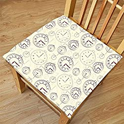 Nalahome Set of 2 Waterproof Cozy Seat Protector Cushion Clock Decor Vintage Watches with Roman Digits Wallpaper Pattern Decorative Illustration Cream Maroon Printing Size 20x20inch