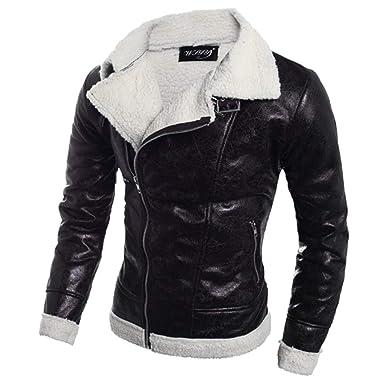 aliveGOT Mens Shearling Sheepskin Bomber Lapel Leather Flying Aviator Jacket (Black, ...