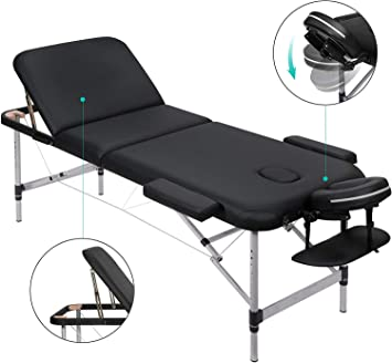 Lettino Massaggio Portatile In Alluminio.Marnur Lettino Massaggio Pieghevole 3 Sezioni Con Telaio In