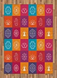 Yoga Area Rug by Ambesonne, Colorful Collection of Yoga Icons and Relaxation Symbols Wellness Harmony Health Zen, Flat Woven Accent Rug for Living Room Bedroom Dining Room, 5.2 x 7.5 FT, Multicolor