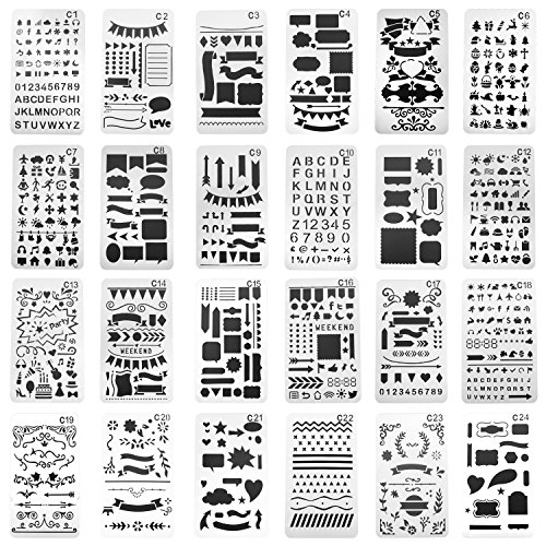 Planner Template - SUBANG 24 Pieces Journal Stencil Plastic Planner Stencils Journal/Notebook/Diary/Scrapbook DIY Drawing Template Stencil 4x7 Inch