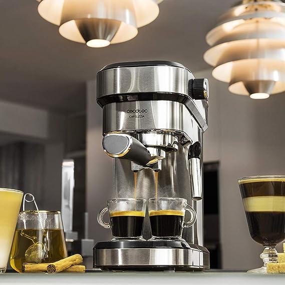 Cecotec Cafetera Express Cafelizzia 790 Steel para espressos y cappuccinos, Brazo portafiltros con Doble Salida y Dos filtros, 20 Bares de Presión, Depósito extraíble de 1,2L, 1350W, Acero: Amazon.es: Hogar