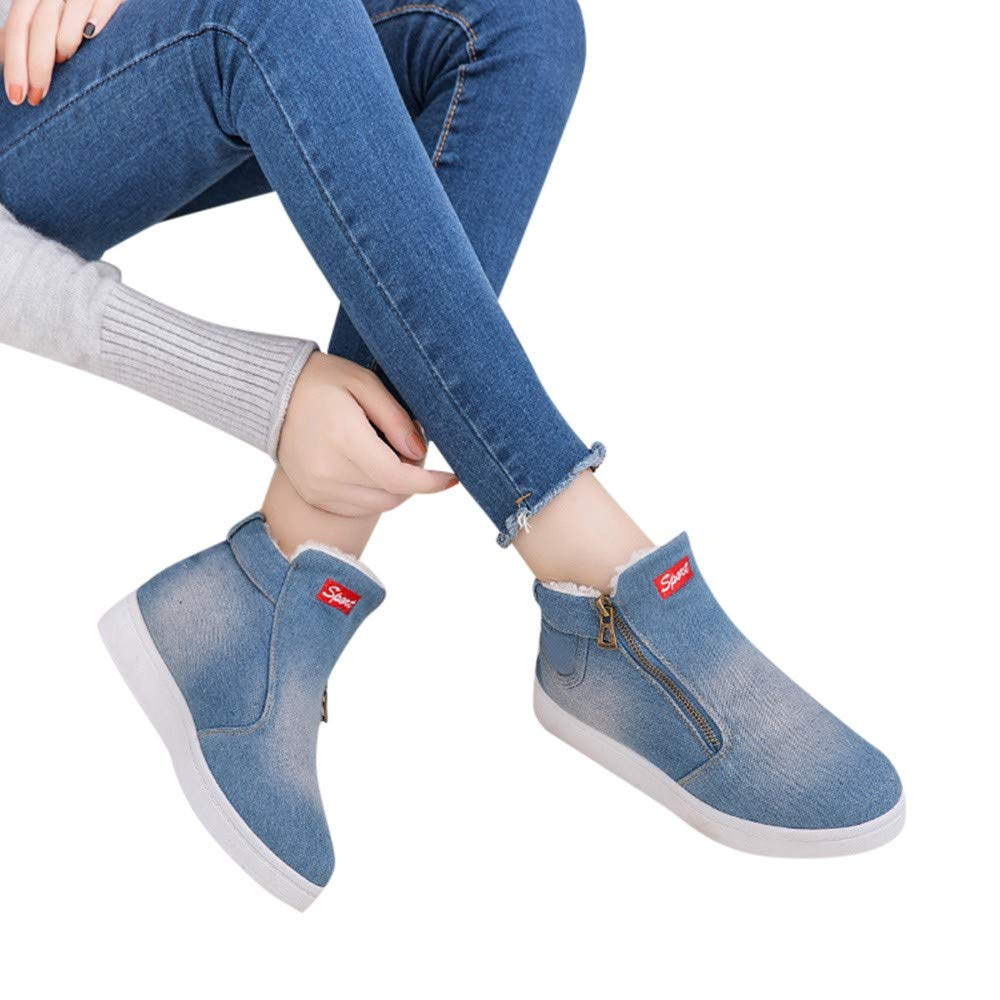 Women Flat Boots, Mosstars Casual Round Toe Letter Denim Cover Heel Snow Shoes Fashion Winter Thick Warm Zipper with Chain Footwear Boot