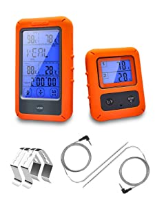 Wireless Meat Thermometer,HONEONE Digital Thermometer Remote Accurate&Fast Digital Timer Mode Cooking Food Meat Thermometer with Dual Probes for Smoker,Grilling,Oven,BBQ,Kitchen,Turkey,300FT Range