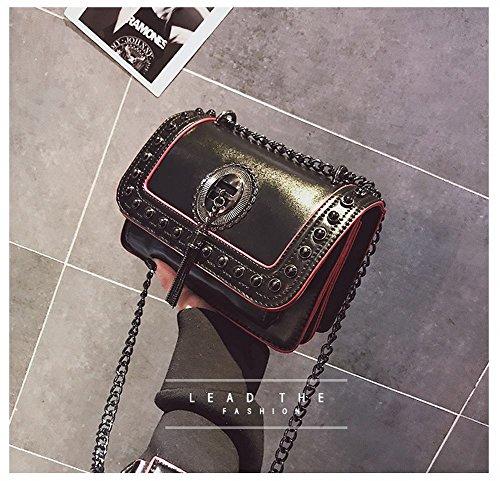 Women Leather Metal Crossbody Strap Shoulder Designer Handbags Chain for Bag PU Classic Purse Black wpqIfPYp6