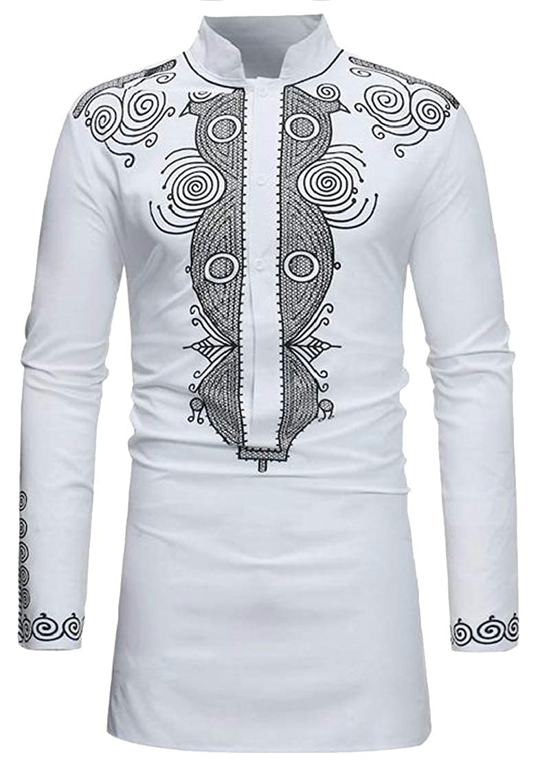 Wofupowga Mens Muslim Stand Neck Slim Ethnic Style Floral Print Button Down Shirts