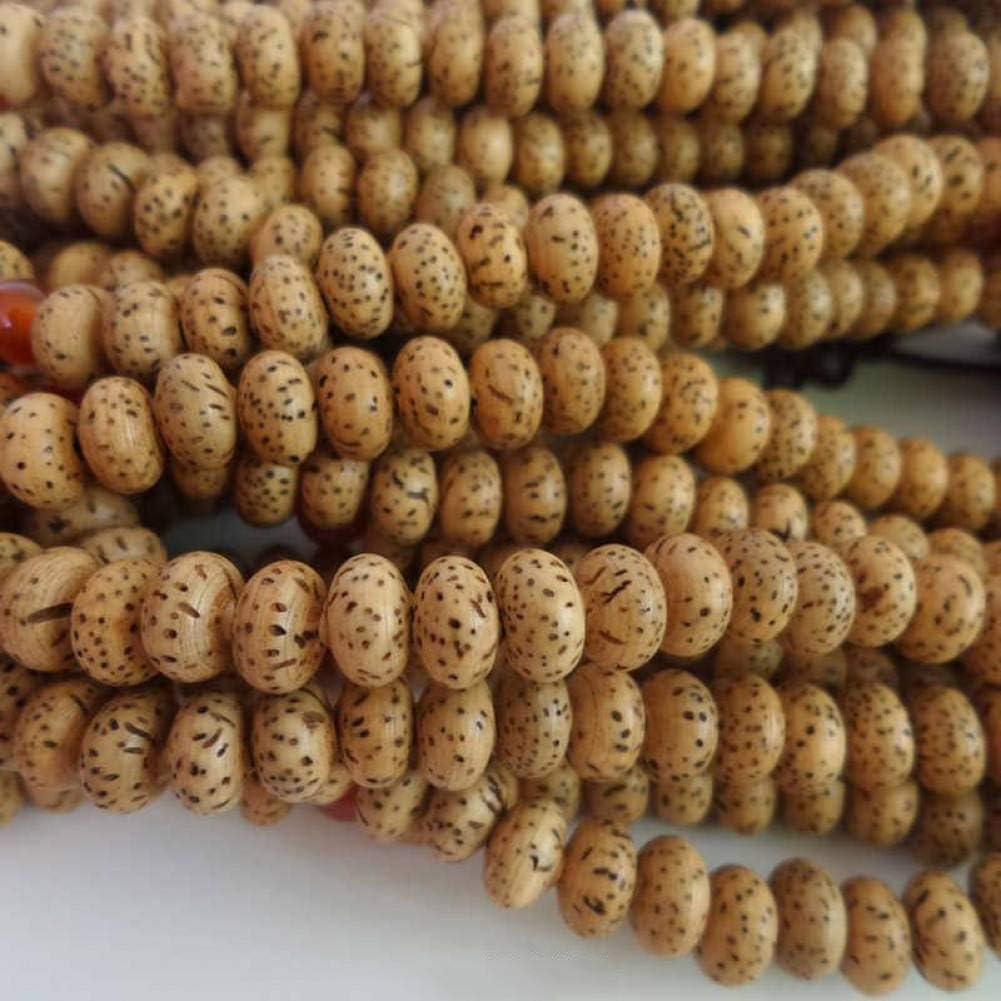 MLJSX Pulsera Pulsera de Semillas de Plantas Naturales 108 Lotus Bodhi Rosario 8x5mm