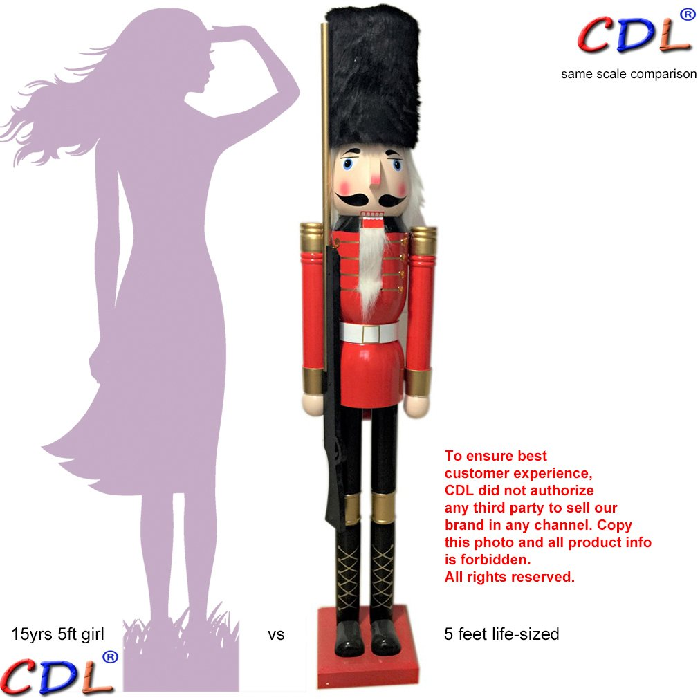 CDL 60'' 5ft tall life-size large/giant Christmas wooden nutcracker soldier ornament on stand carry ceremonial gun for indoor outdoor Xmas/event/ceremonies/commercial decoration(5 feet,soldier red k07)