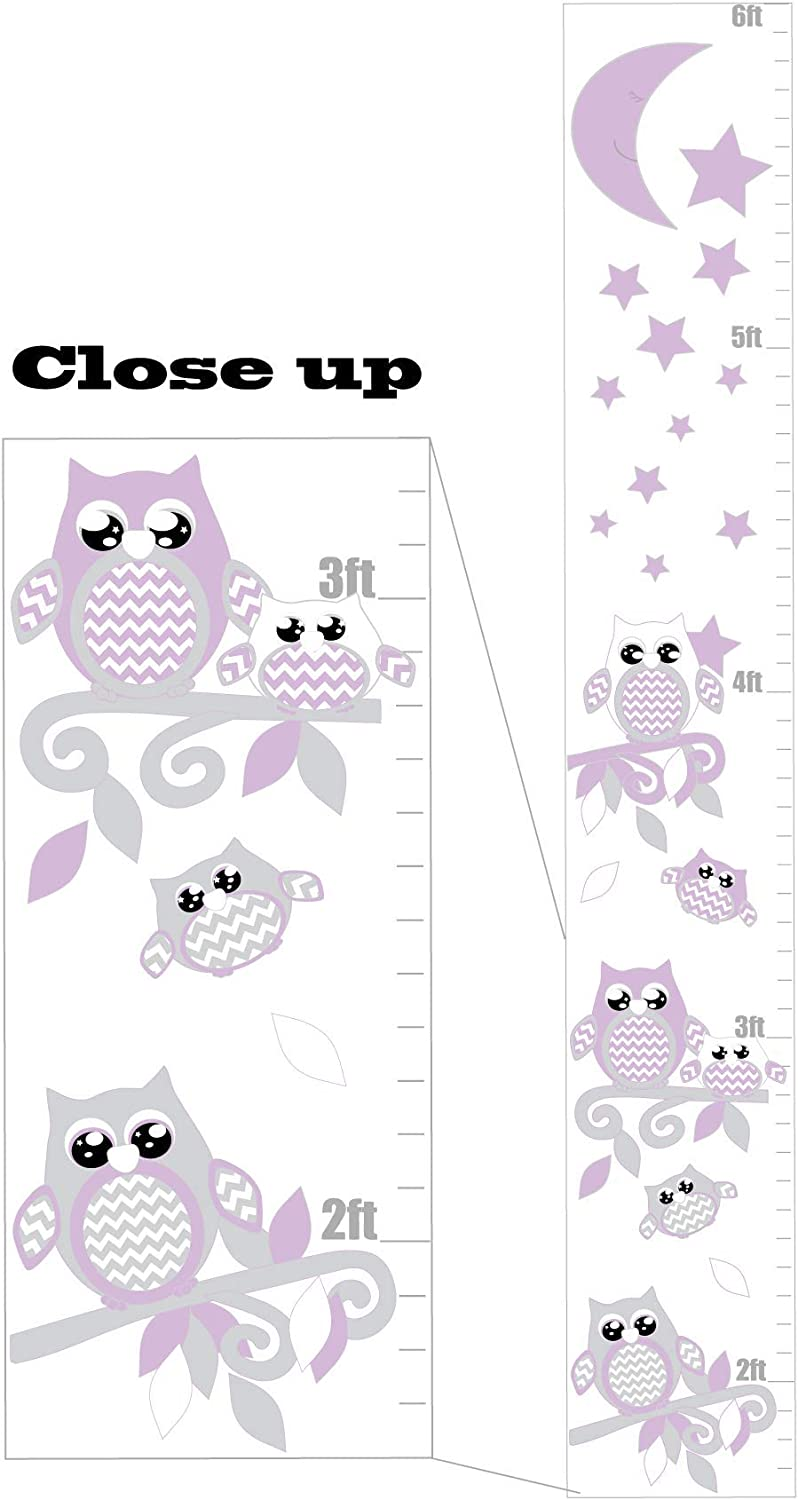 Purple and Grey Owl Growth Chart Wall Art with Chevrons, Swirly Branches, Moon and Stars/Woodland Forest Animals Owl Nursery and Children's Wall Decals Decor