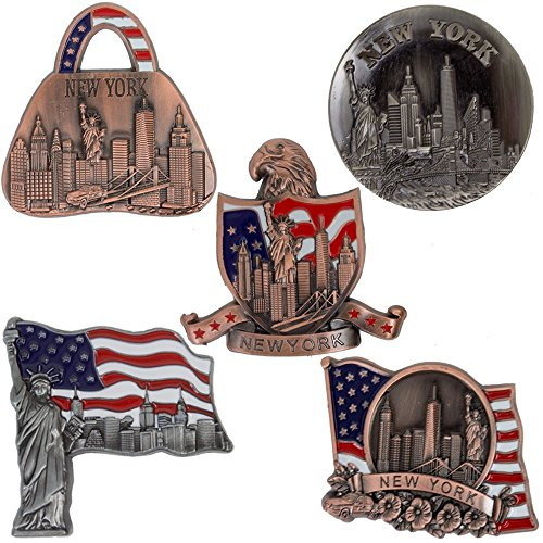 - New York Souvenir - 5 Metal Fridge Magnets - Freedom Tower, Statue of Liberty, Empire State Building, Brooklyn Bridge And Landmark Skylines - Beer Opener - NY Collections - Bronze Color