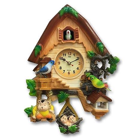 AIZIJI Reloj de Cuco Cartoon creativos niños salón Dormitorio Reloj de Pared Relojes de Cuarzo Silencio