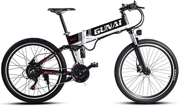 GUNAI Bicicleta de Montaña Eléctrica Plegable 26 Pulgadas ...