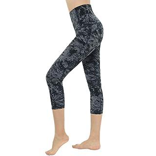 Dragon Fit Compression Yoga Pants Power Stretch Workout Leggings with High Waist Tummy Control (Medium, Capri-Carbon Grey Marble)