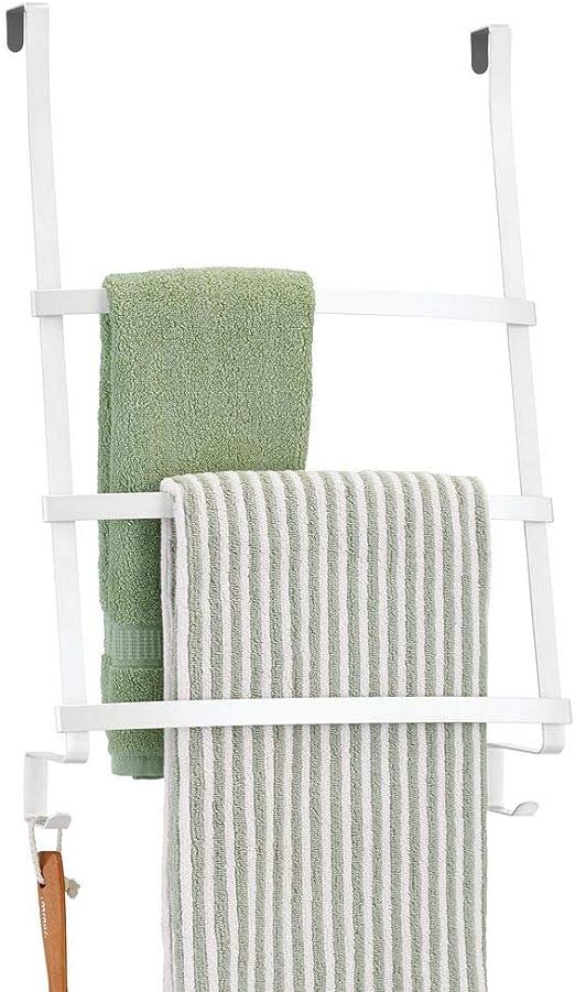 mDesign Colgador de toallas para puerta – Toallero escalera para ...