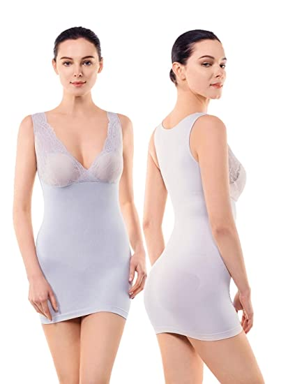 cae2c40fc65 MD Women s Shapewear Nylon Short Full Length Firm Control Slip Body Shaper  - Grey -
