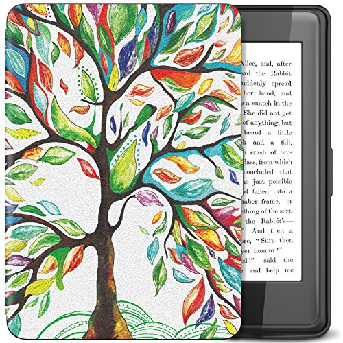 TiMOVO Kindle Paperwhite Case - PU Leather Smart Cover Case with Auto Wake/Sleep Function for Amazon Kindle Paperwhite (Fits 2012, 2013, 2015 and 2016 Versions) Tablet, Lucky Tree