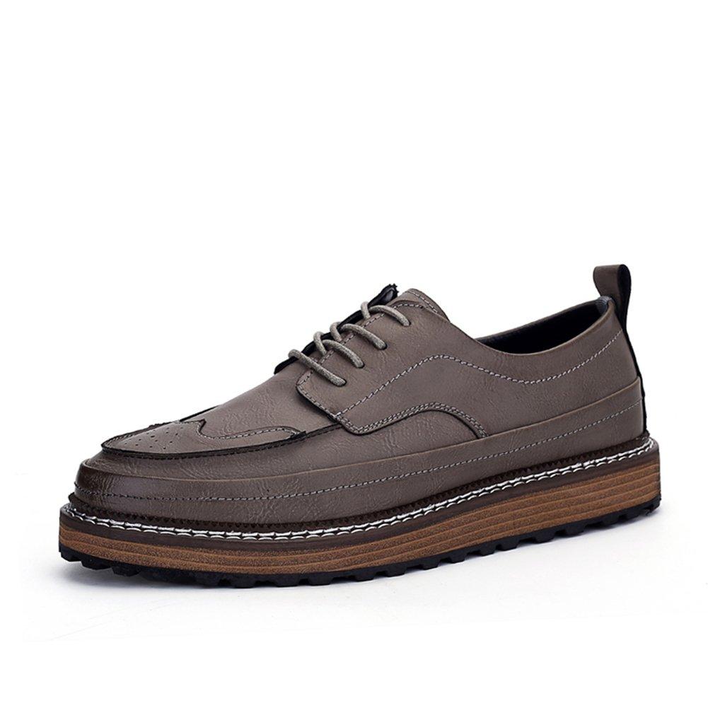 HUAN Zapatos Casuales Zapatos Casuales para Hombre Zapatos de Moda con la Parte Superior Baja Zapatos de Cordones con Estilo Británico Respirables Zapatos de Vestir (Color : Gray, Size : 39) 39|Gray