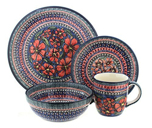 Polish Pottery Jungle Flower 4 Piece Dinner Set