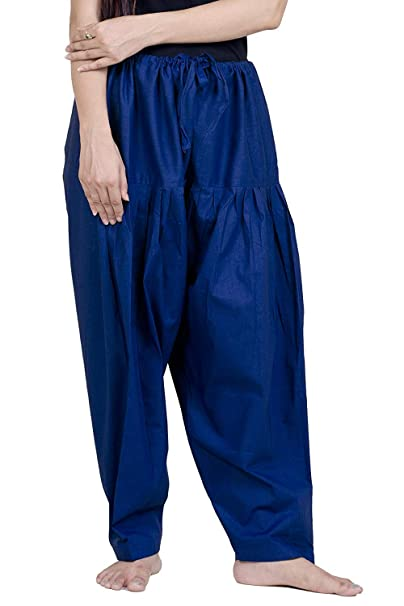 2a7aef7c74828 Cotton Patiala Salwar Navy Blue Ankle Length Pleated Salwar for Womens  (Large)