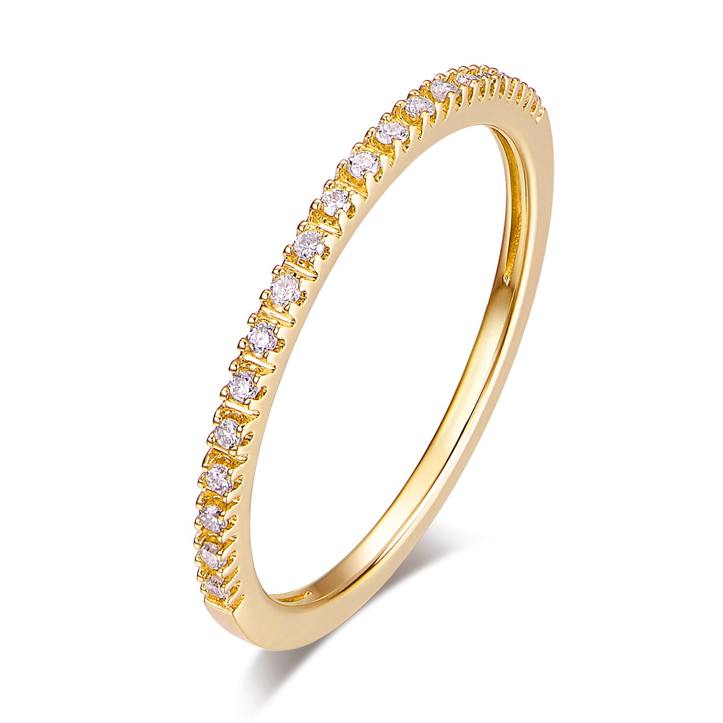 14K Gold Riviera Petite Micropave Diamond Half Eternity Wedding Band Ring for Women, 1.5mm (Yellow-Gold, 4) by Hafeez Center