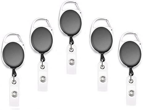 Fushing 100Pcs Retractable Badge Holder Carabiner Reel Clip On ID Card Holders