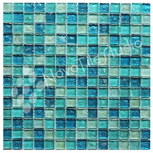 NovoTileStudio.com Box 10 Tiles Sparkly Blue Glass Mosaic Tile 12