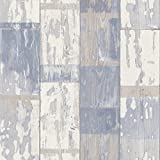 Reclaimed Painted Blue Wood Panel Wallpaper 587128 Paste the Wall