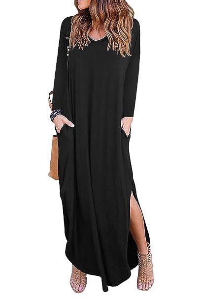 Zilcremo La Mujer Casual Maxi Vestido Túnica De Manga Larga Vestidos De Playa Blacklongsleeve S