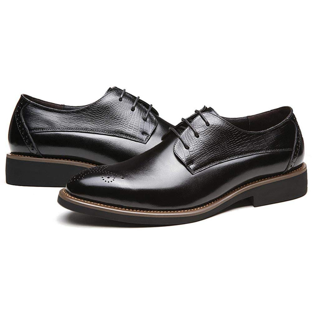 Herren Business Echtes Leder Derby Formale Business Herren Spitzschuh Uniform Schuhe Schnürschuhe Oxford Rutschfeste Party Hochzeit Schuhe schwarz 3b963e
