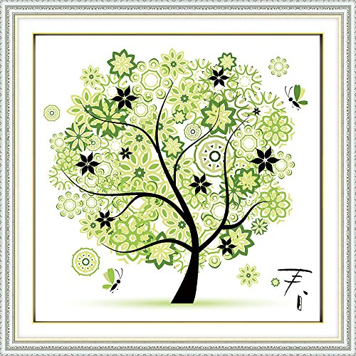 DIY Counted Cross Stitch Kits Handmade Needlework Embroidery Set Home Decor Colorful Tree, Spring