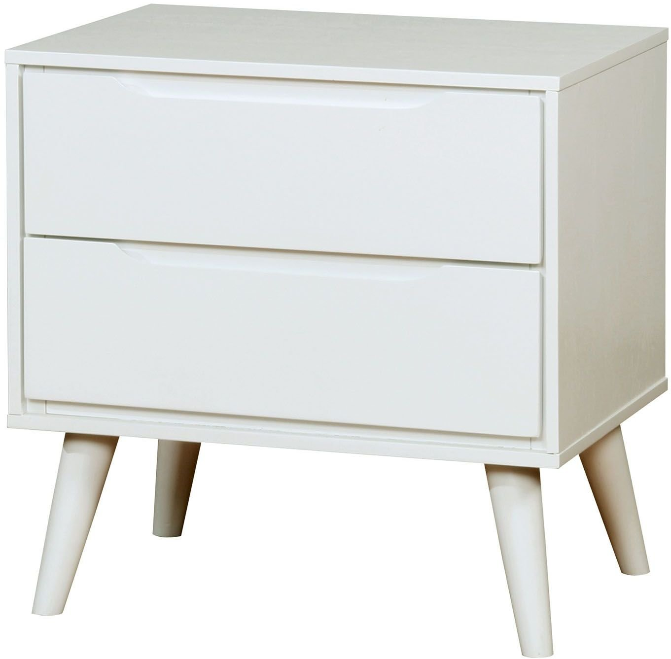 "Furniture of America CM7386WH-N Lennart II White Night Stand Nightstands, 24"" H - Part of lennart II collection Crafted from solid wood and wood veneers White Finish - nightstands, bedroom-furniture, bedroom - 61AE5MUo%2BrL -"