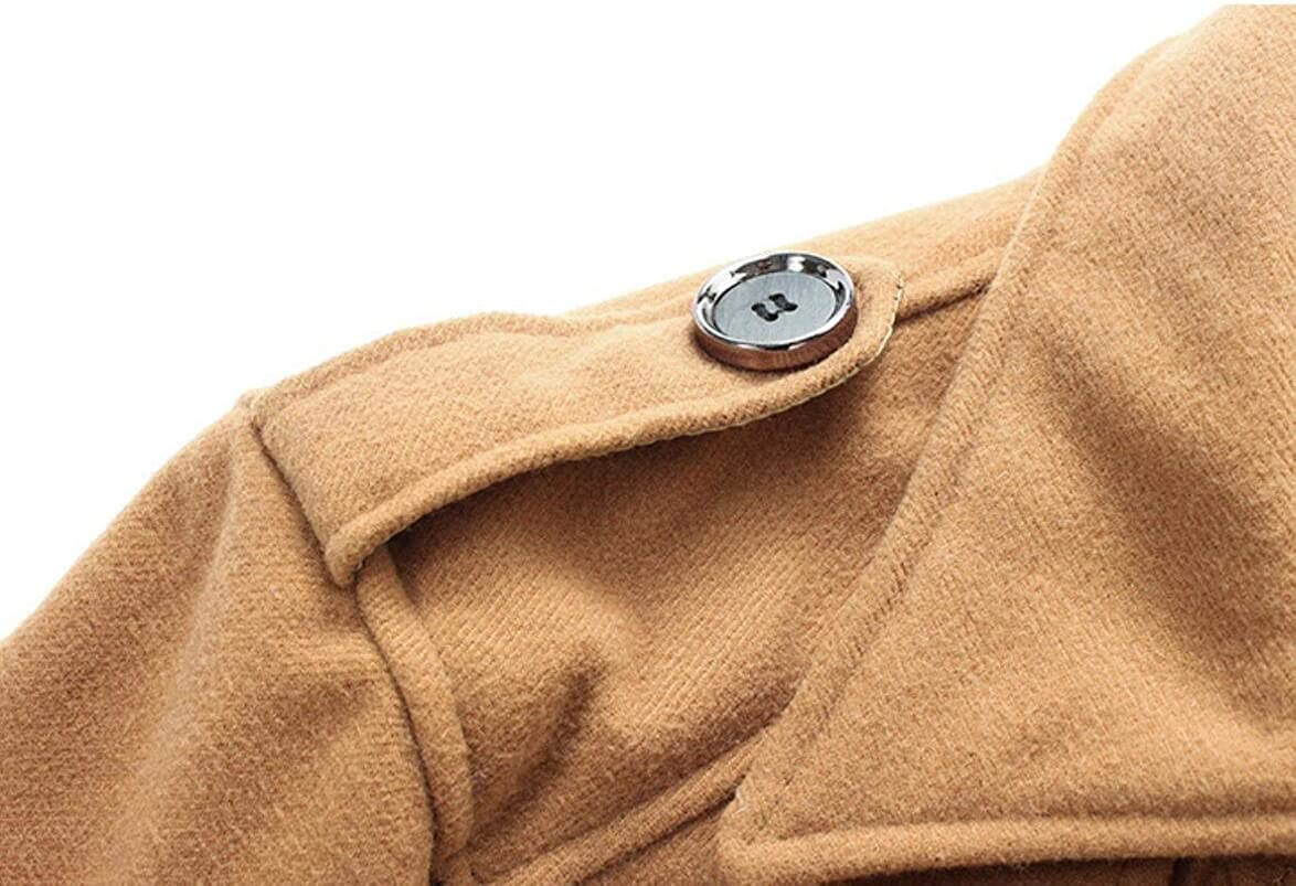 XQS Mens Single-Breasted Solid Hooded Winter Warm Coat with Belt