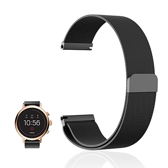 For Fossil Q Venture HR Band , FRGNIE Milanese Stainless Steel Fully Magnetic Closure Mesh Replacement Strap for Fossil Q Venture (Gen3) / Fossil Q ...