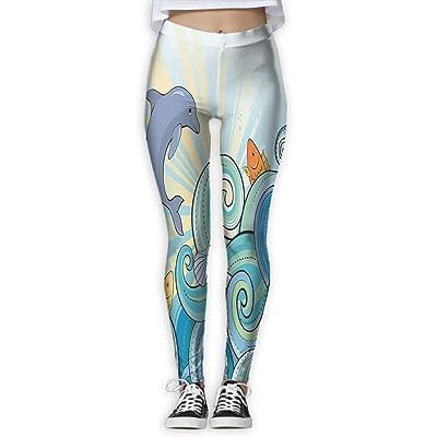XINSHOU Women's Cartoon Dolphin Fish Starfish Shells Lights In Ocean Marine In Summer Pattern Yoga Workout