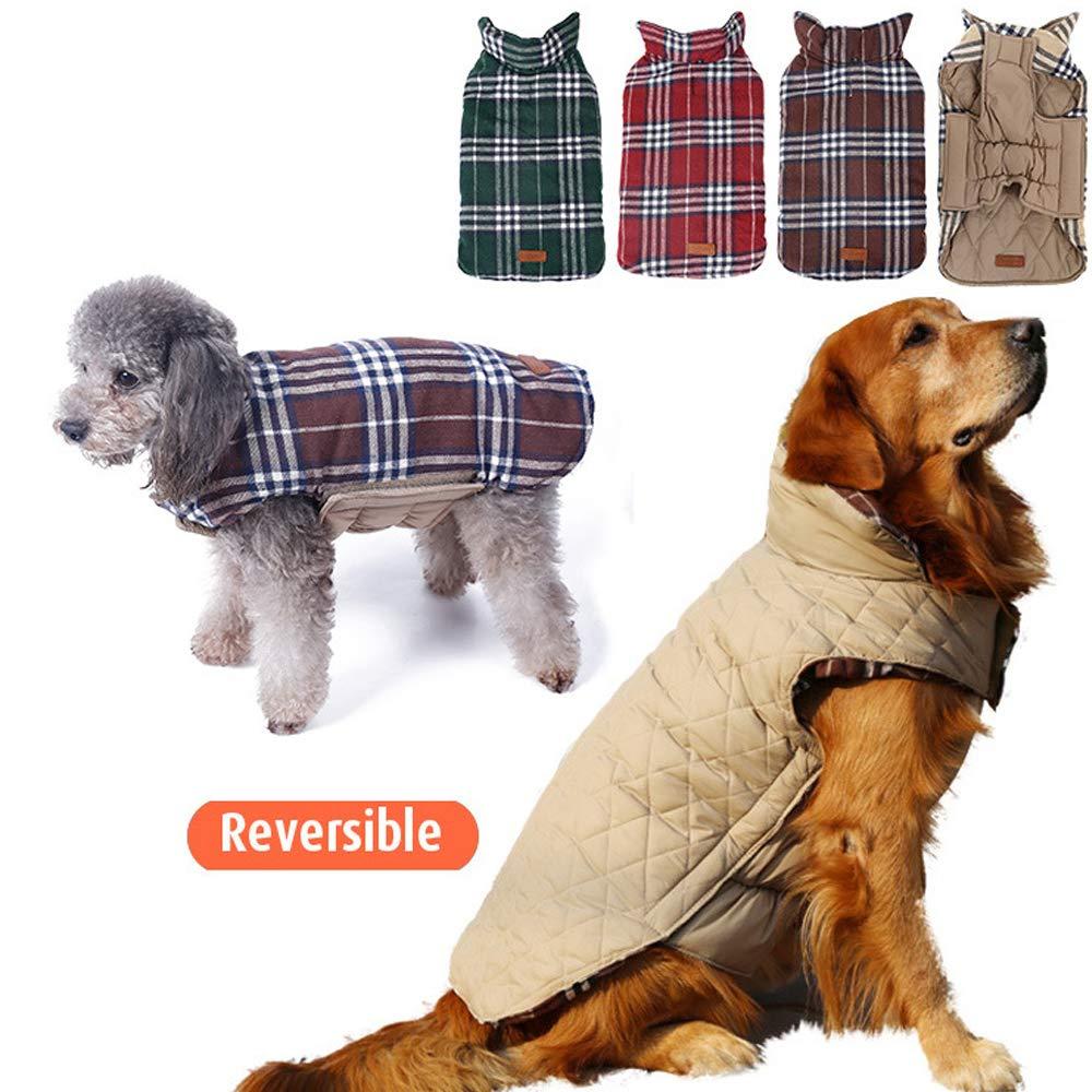 YouthUnion Ropa para Perro XXL, Verde Abrigo Capa Chaqueta para Mascota Invierno Calefacci/ón Impermeable Cuadro Reversible para Perro Peque/ño Grande