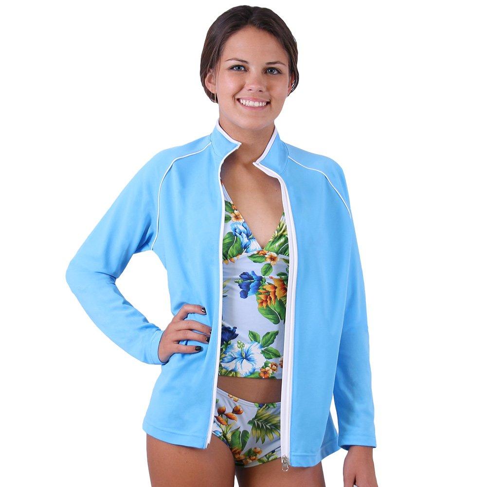 Nozone Maui Women's Sun Protective Full Zip Swim Shirt in Your Choice of Colors 1020