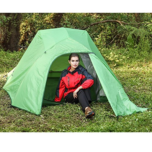 Topnaca 2-3 Person 4 Seasons Double Layer Backpacking Tent, Free Offer a Groundsheet, Aluminum Rod Anti-UV Windproof Waterproof, for Camping, Hiking, Travel, Hunting (Green-3 Person)