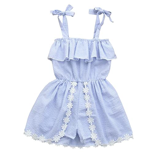 d9825d90ddb Vincent July Baby Girls Summer Clothes Stripe Ruffle Overall Jumpsuit Romper  Outfits (3T(2-